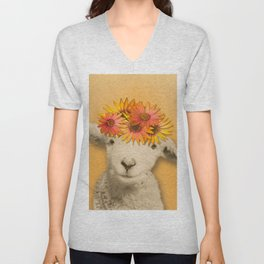 Daisies Sheep Girl Portrait, Mustard Yellow Texturized Background Unisex V-Neck