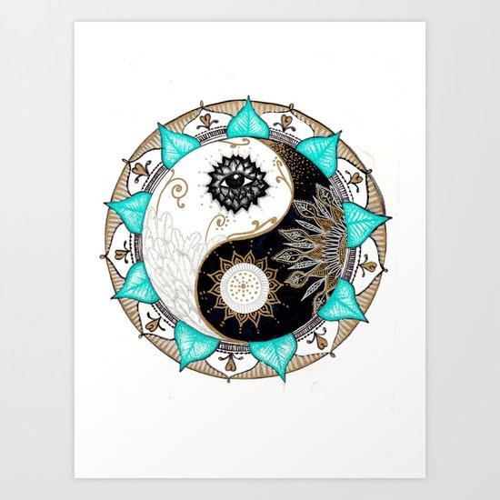 Yin and Yang Mandala Art Print