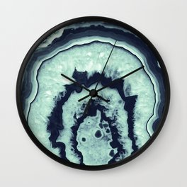 Navy Blue Mint Agate #1 #gem #decor #art #society6 Wall Clock