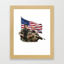Presidential Soldiers: Ronald Reagan & Donald Trump USA Flag Framed Art Print
