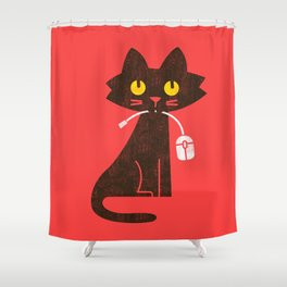 Fitz - Hungry hungry cat (and unfortunate mouse) Shower Curtain