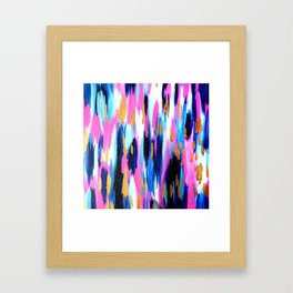 Spring Golden - Pink and Navy Abstract Framed Art Print