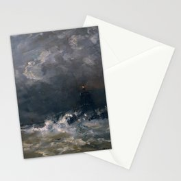 Lighthouse in Breaking Waves Stationery Cards