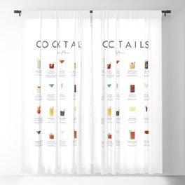 Cocktail Chart - Bar Menu Blackout Curtain