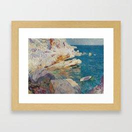 Joaquin Sorolla Y Bastida - Rocks at Javea. The white boat Framed Art Print