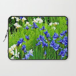 BLUE & WHITE  IRIS FLOWER GARDEN Laptop Sleeve