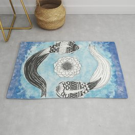 Ying and Yang Coi With Lotus Rug