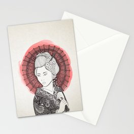 Japanese flag and Geisha Stationery Cards
