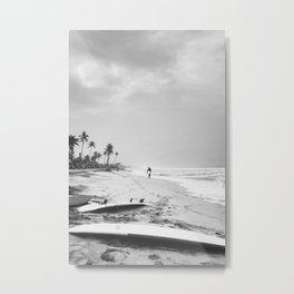 Back and white surf beach photo Metal Print
