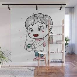 I love to drink coffee with blossom flower. Wall Mural