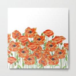 Watercolor poppy field illustration Metal Print