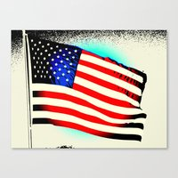 american flag Canvas Prints featuring American Flag by Jessielee