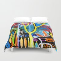 mid century modern Duvet Covers featuring Mid Century Modern Landscape by Rookery Design