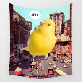 Canary in the City Wall Tapestry