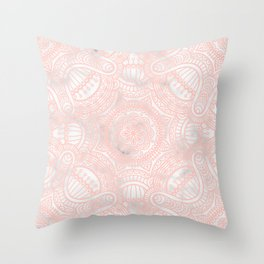 Marble Pink Ethnic Mandala Pattern Throw Pillow