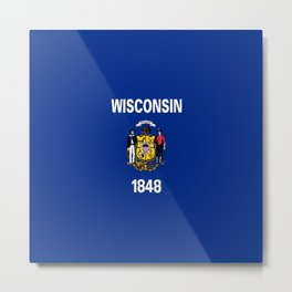 flag winconsin,america,usa,midwest,great lakes, Wisconsinite, Badger, Dairyland,Milwaukee,Madison Metal Print