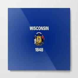 flag winconsin,america,usa,midwest,great lakes, Wisconsinite, Badger, Dairyland,Milwaukee,Madison Metal Print