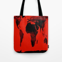 World Map Red & Black Tote Bag