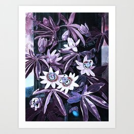 Temple of Flora UltraViolet Mauve Blue Art Print