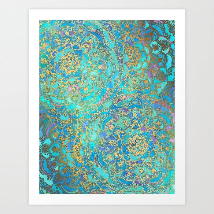 Sapphire & Jade Stained Glass Mandalas Kunstdrucke
