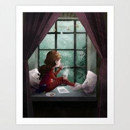 Rainy day reading Art Print
