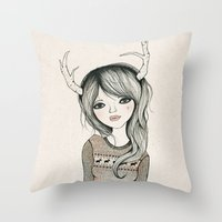 antler Throw Pillows featuring Antler Girl by Kelli Murray