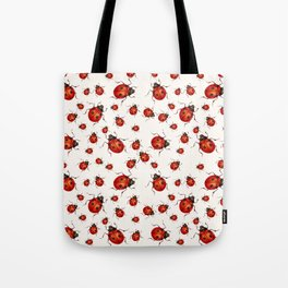 LOVING RED LADY BUGS  ON WHITE COLOR DESIGN ART Tote Bag