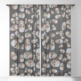 Happy Skull Random Pattern (Black) Sheer Curtain