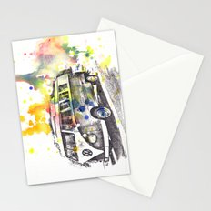 Classic Vw Volkswagen Bus Van Painting Stationery Cards