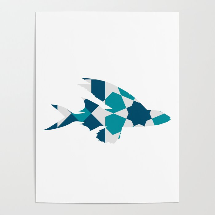 LONG FIN FISH SILHOUETTE WITH PATTERN Poster by deificusart