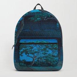 Japanese Woodblock Print Night Shrine Man Carrying Child Backpack