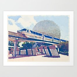 Watercolor monorail through Epcot Art Print