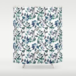 Jade and Succulent Watercolor Plant Pattern Shower Curtain