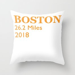 Boston Running 2018 26 Miles Marathon running Throw Pillow