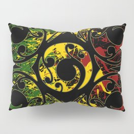 Rasta Colors on Maori Patterns Pillow Sham