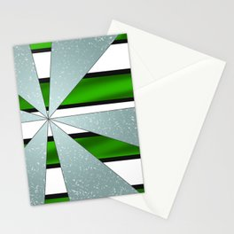 4Shades Glass: Green B/W Reverse Stationery Cards