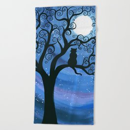 Meowing at the moon - moonlight cat painting Beach Towel
