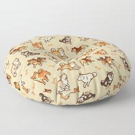 Shibas in cream Floor Pillow