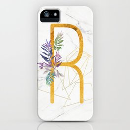 Modern glamorous personalized gold initial letter R, Custom initial name monogram gold alphabet prin iPhone Case