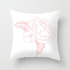 Light pink peony Throw Pillow