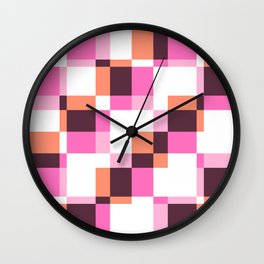 Santelmo - Colorful Pink Purple Pixel patchwork Pattern Wall Clock
