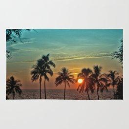 Sunset at Mauna Kea Beach, Hawaii Teal Rug