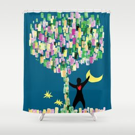 under the blooming tree Shower Curtain