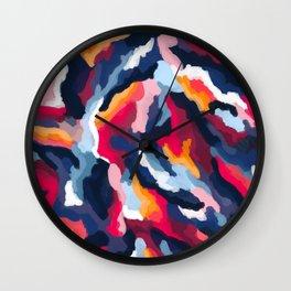 Warm Abstract Digital Paint Wall Clock