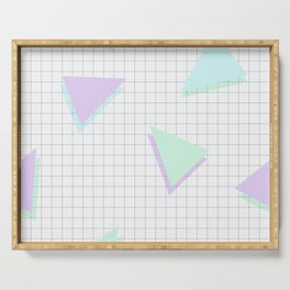 Cool-Color Pastel Triangles on Grid Serving Tray