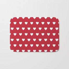 Polka Dot Hearts - red and white Bath Mat