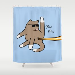 Cat Butt Laser Shower Curtain
