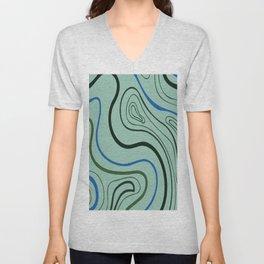 Melted circular waves digital oil painting lines. Unisex V-Neck