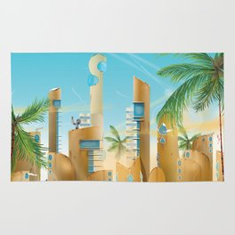 Explore the Universe vintage travel poster Rug