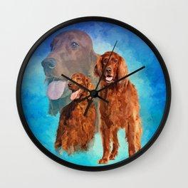 Irish Setter Dogs collage Wall Clock